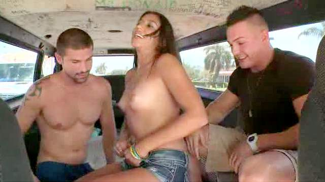 Babes, Blowjob, Brunette, Car, Doggy style, Nympho, Threesome, Van