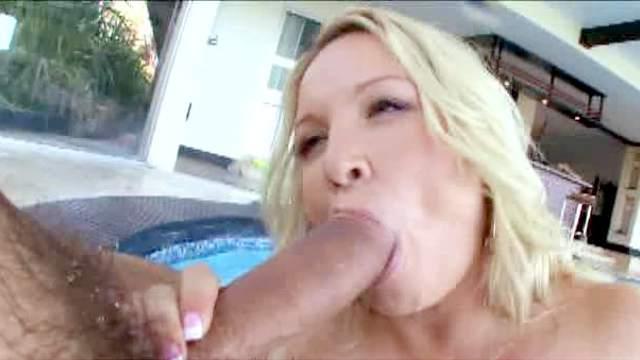 Big dick, Blonde, Blowjob, Mom, Pool