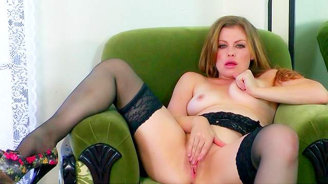 Pornstar with nice lingerie Sovereign Syre is masturbating