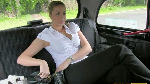 Tattooed slender babe Paige bangs with driver
