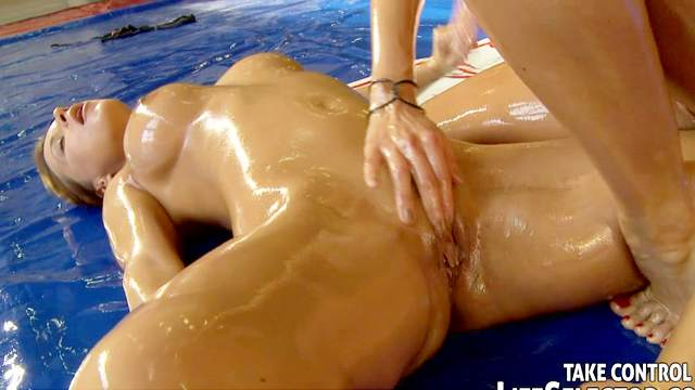 Bikini, Blonde, Brunette, Catfight, Natural tits, Oil, Perfect body, Trimmed pussy