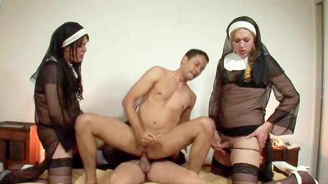Anal, Bedroom, Blowjob, Doggy style, Group sex, Nun, Nylon, Riding, Stockings