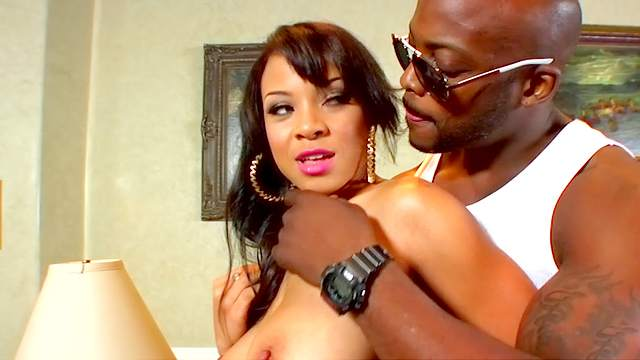 Black guy bangs sexy lady wearing lingerie and stockings