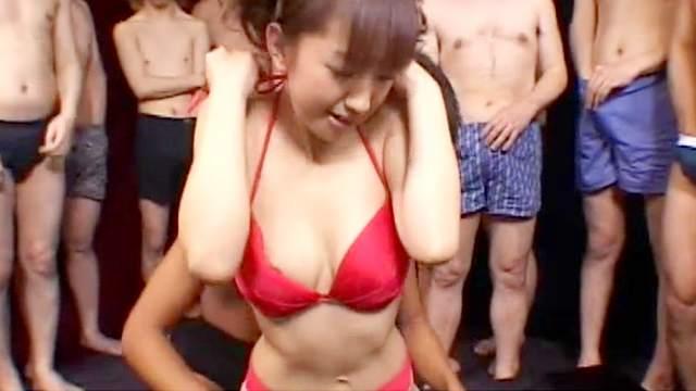 Cute Japanese girl sucks a lot of cocks and swallows cum