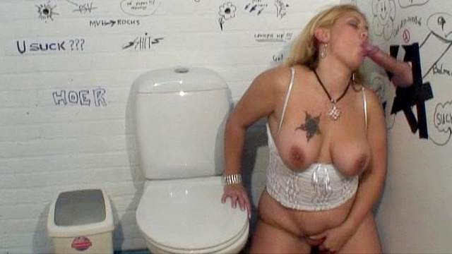 Jewel is sucking cock in the toilet
