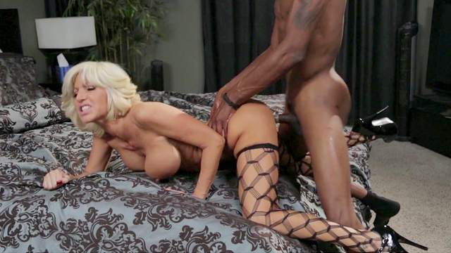 Bedroom, Big tits, Blonde, Blowjob, Cumshot, Doggy style, Interracial, MILF, Mom, Perfect body, Pornstar, Pussy licking, Riding, Spread legs, Stockings, Trimmed pussy