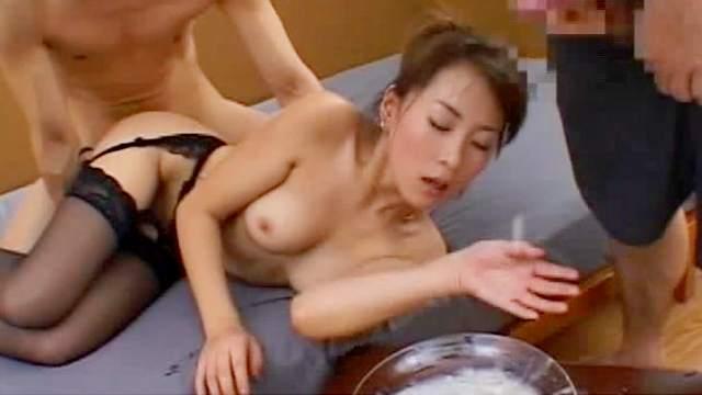 Belt, Bukkake, Covered, Cum swallow, Gangbang, Handcuffs, Japanese, Long nails, Natural tits, Stockings