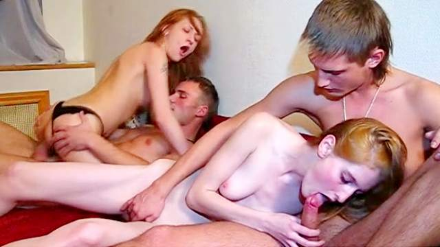 Two skinny sluts and two young dicks
