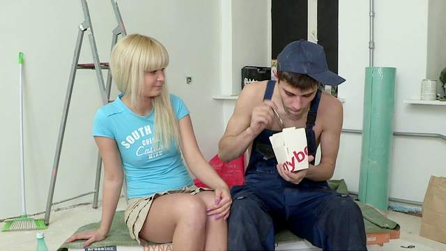 Slender Bella and Andy are fucking instead of working