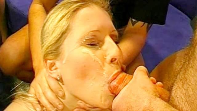 Blonde, Blowjob, Bukkake, Cum in mouth, Cum swallow, Gangbang, Hardcore, Natural tits, Plastic, Red lips