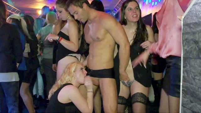 Blowjob, Brunette, Club, Dildo, Dress, Fake cum, Gloryhole, Long hair, Orgy, Party, Public, Small tits, Stockings, Stripper, Stroking, Thong
