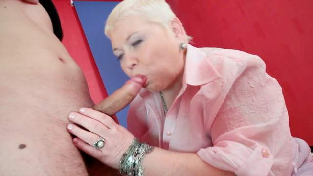 Blowjob, Couple, Doggy style, Fat, Mature, Pantyhose, Short hair