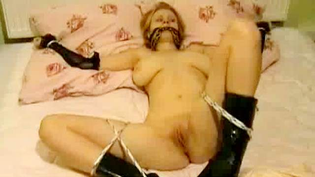 Bed, Bedroom, Blonde, Blowjob, Boots, Couple, Doggy style, Gloves, Masturbation, Natural tits, Oral, Riding, Rope, Shaved pussy, Spread legs, Young girl