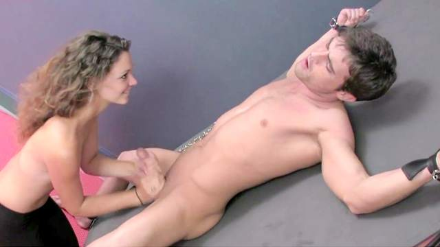 Cage, Couple, Curly, Handcuffs, Handjob, Leggings, Long hair, Small tits, Tan lines, Young girl
