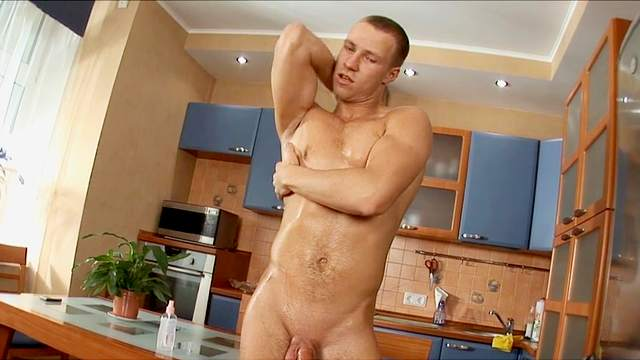 American, Jeans, Kitchen, Masturbation, Muscle