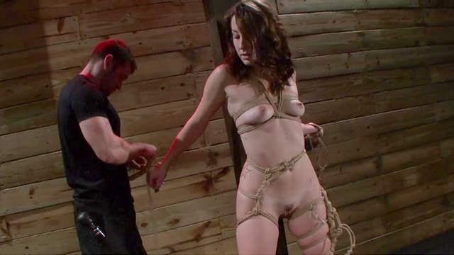 BDSM, Brunette, Couple, Fucking machine, HD, Shibari, Small tits, Tied, Trimmed pussy