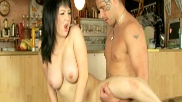Bar, Brunette, Couple, Cum in mouth, Masturbation, Shaved pussy, Spread legs, Standing, Vibrator