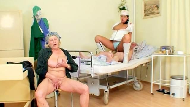 Blowjob, FFM, Handjob, Hospital, Mature, Mom, Nurse, Old and young, Riding, Saggy tits, Threesome