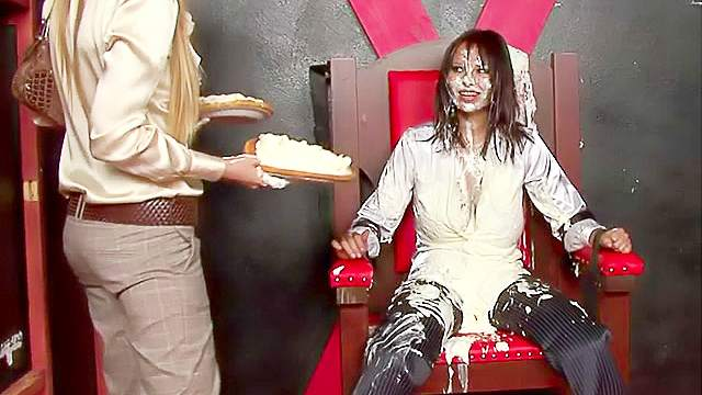 Pie in the face with food fight