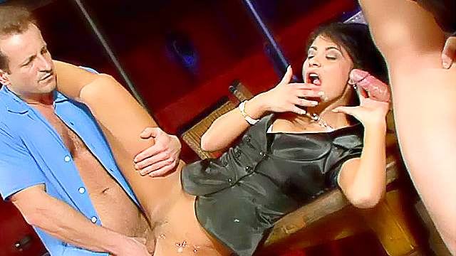 Big dick, Blowjob, Brunette, Clothed, Hardcore, Nylon, Pantyhose, Pissing, Spit, Threesome