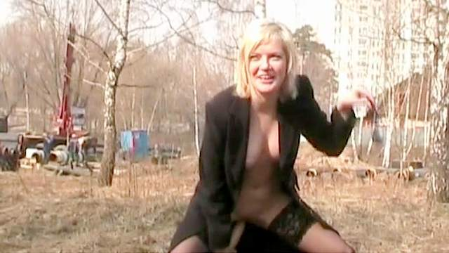 Blonde, Clothed, Dildo, Fingering, MILF, Natural tits, Outdoor, Public, Russian, Shaved pussy, Solo, Stockings