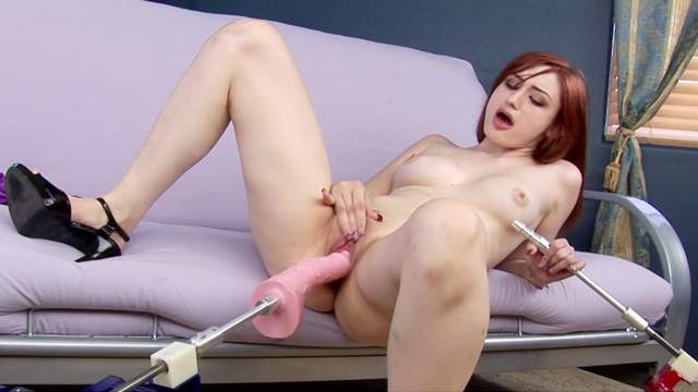Redhead babe Violet Monroe shows her toys