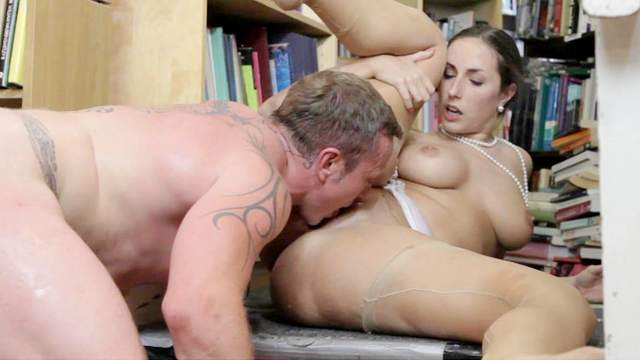 Couple, Fingering, Library, MILF, Natural tits, Pussy licking, Riding, Shaved pussy