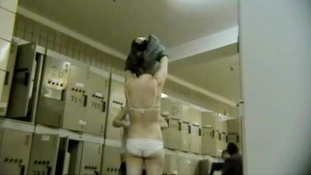 Hidden cam, Lingerie, Locker room, Natural tits, Voyeur