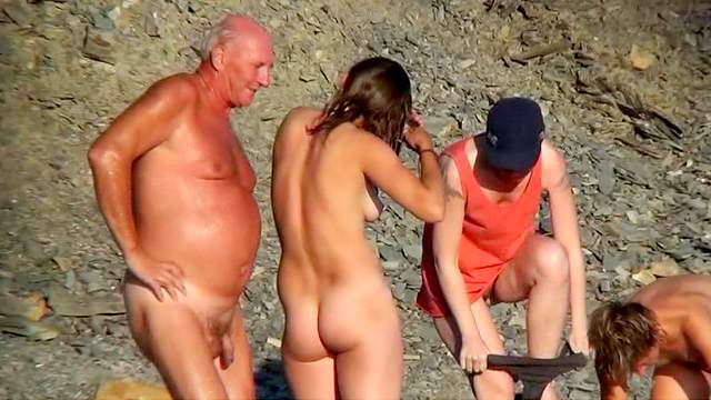 Beach, MILF, Nudist, Outdoor, Small tits, Standing, Trimmed pussy, Voyeur