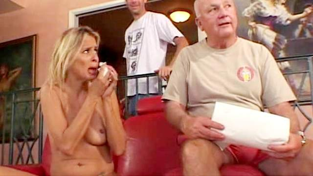 Blowjob, Cuckold, Cumshot, MMF, Pierced vagina, Riding, Small tits, Sofa, Threesome, Trimmed pussy