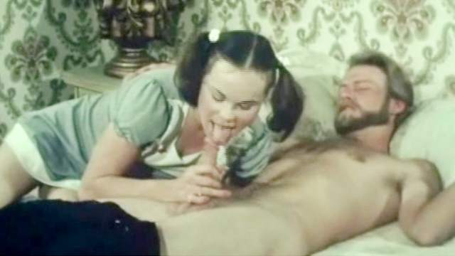 Bed, Blowjob, Brunette, Facial, Handjob, Ponytail, Teen, Vintage