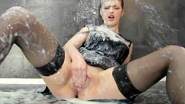 Clothed, Fake cum, Gloryhole, Masturbation, Stockings