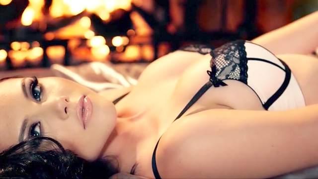Erotic lingerie posing by brunette doll Iana Little