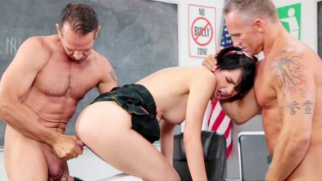 Schoolgirl goes wild on two males with perfect hardcore sex