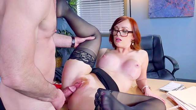 Busty office milf delights with the new guy's huge dick