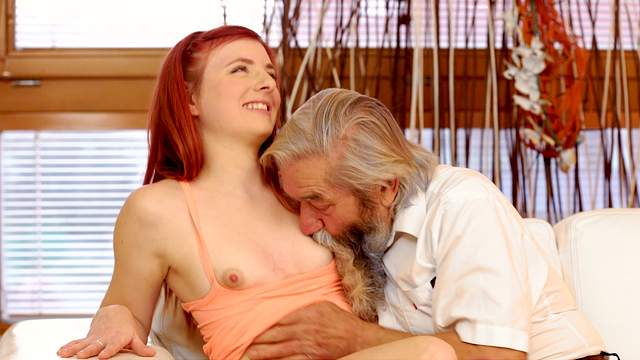Blowjob, Fingering, Grandpa, HD, Masturbation, MMF, Moaning, Old and young, Old man, Orgasm, Pussy licking, Redhead, Teen, Threesome, Young girl, 1080p