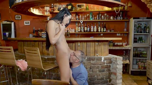 Babes, Bar, Blowjob, Brunette, Cumshot, Grandpa, HD, Old and young, Old man, Perfect body, Pussy licking, Riding, Small tits, Spread legs, Standing, Young girl, 1080p