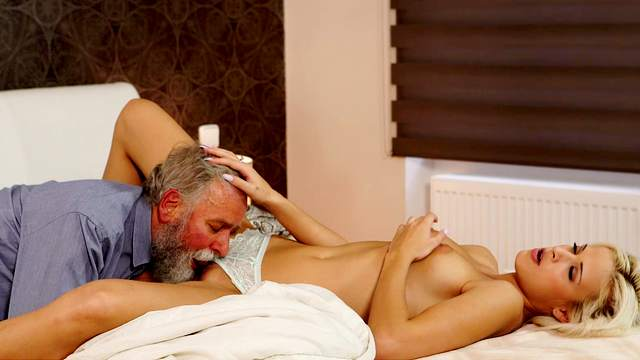 Babes, Blonde, Blowjob, Cumshot, Doggy style, Grandpa, HD, Old and young, Old man, Petite, Pussy licking, Reverse cowgirl, Riding, Small tits, Young girl