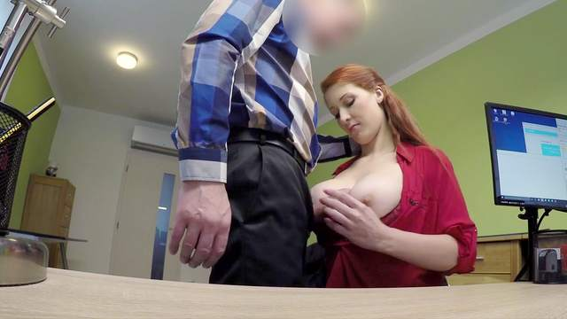 Redhead with large boobs goes slutty on cock