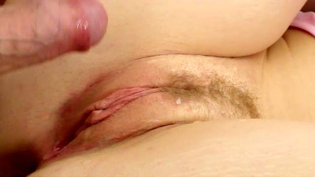 Petite girl creamed on pussy after a rough shag