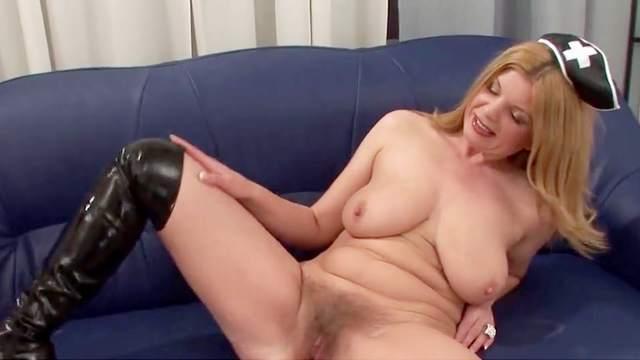 Big tits, Boots, Close up, Hairy, HD, Masturbation, Mature, Nurse, Orgasm, Pussy, Saggy tits, Sofa, Solo, Toys, 1080p