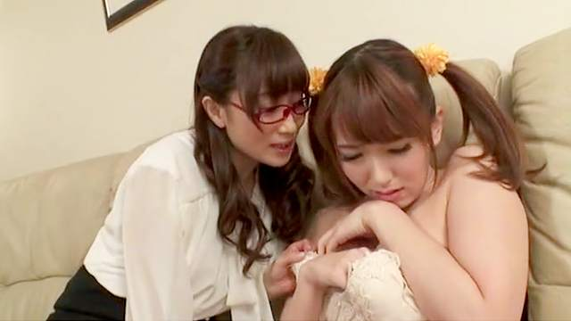 Young Japanese girls are having a wild time sharing oral together