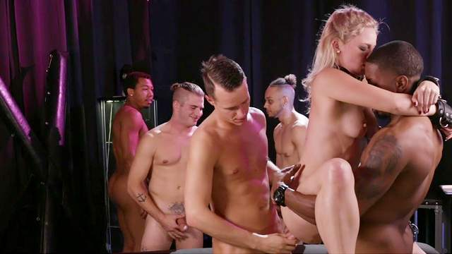 Submissive Lisey Sweet is bound and fucked hard by many fellows