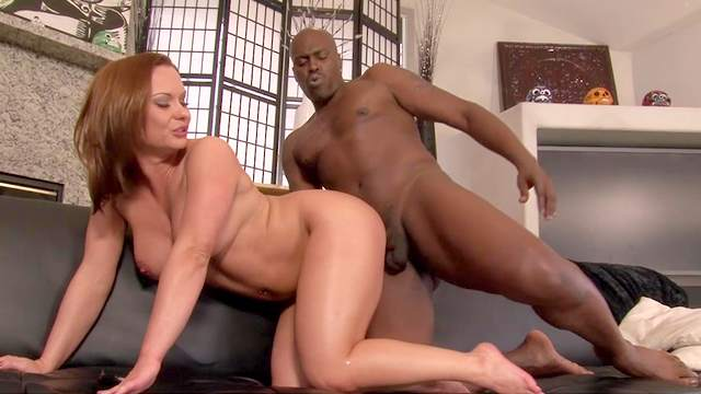 Anal, Big black cock, Blowjob, Brunette, Cum in mouth, Cumshot, Doggy style, Facial, Fake tits, Handjob, Interracial, MILF, Moaning, Riding, Sofa, Trimmed pussy