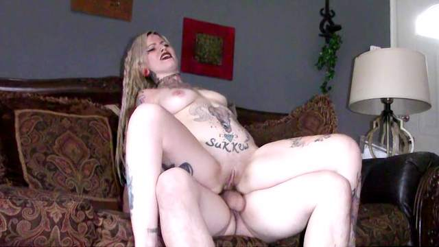 Babes, Blonde, Blowjob, Long hair, Natural tits, Piercing, Riding, Shaved pussy, Sofa, Tattoo