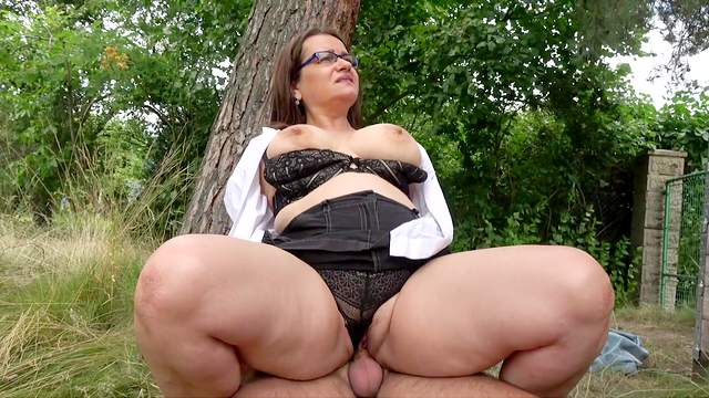 BBW, Big tits, Blowjob, Cum on tits, Cumshot, Glasses, HD, Mature, Mom, Nature, Outdoor, Reality, Reverse cowgirl, Standing, 1080p