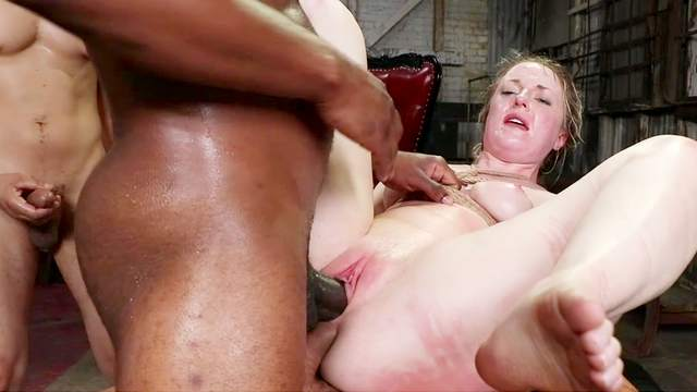 Naked woman restrained and ass fucked in brutal gang bang