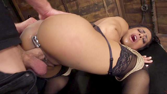 Submissive ebony Kira Noir is bound and boned in the booty