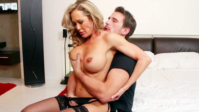 Mommy enjoys cum on face after a wild fuck with the step son