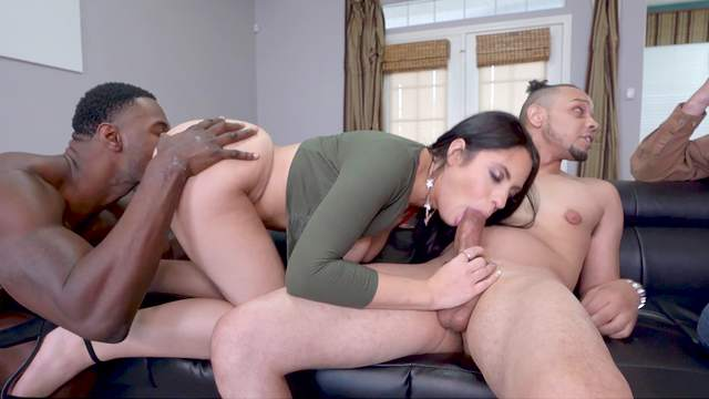 Pure sexual delight in anal threesome with two black dudes